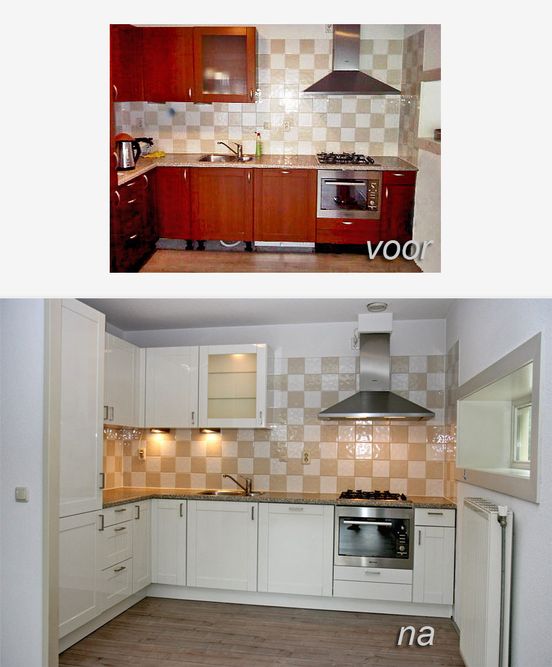 Hoogglans Keuken Verven : Keukendeurtjes spuiten hoogglans wit Meubelspuiterij Eurobord
