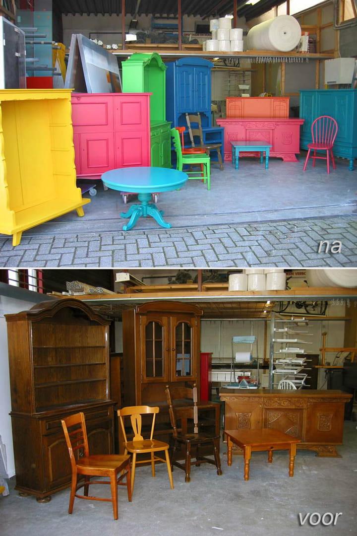 Eiken meubels voor het spuiten   Meubelspuiterij Eurobord Rotterdam