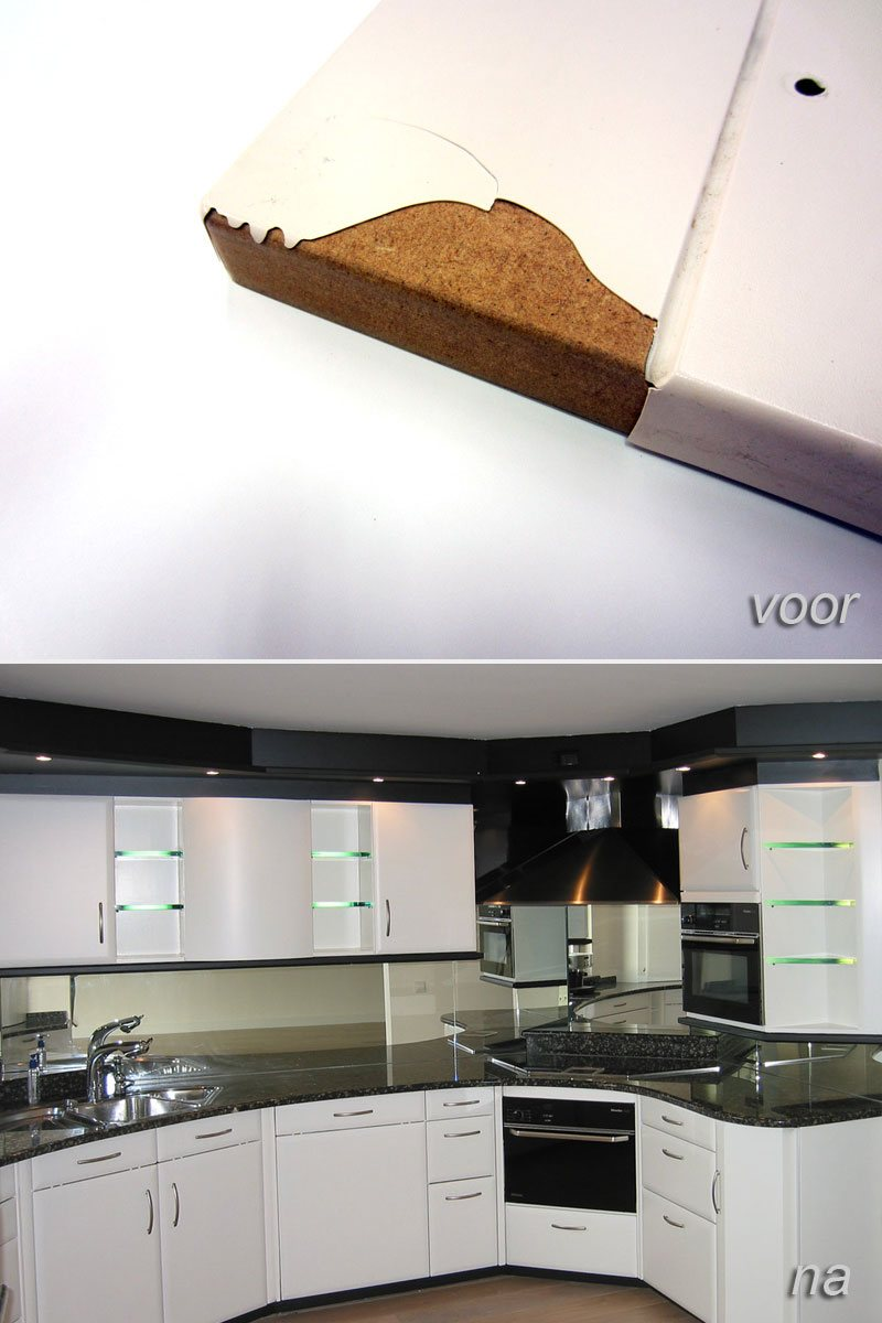 folie keukenkastjes na reparatie  Meubelspuiterij Eurobord Rotterdam